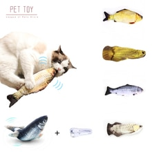 1PC Cat Wagging Catnip Toy 28CM Dancing Moving Floppy Fish Cats Toy USB Charging Simulation Cat Toy