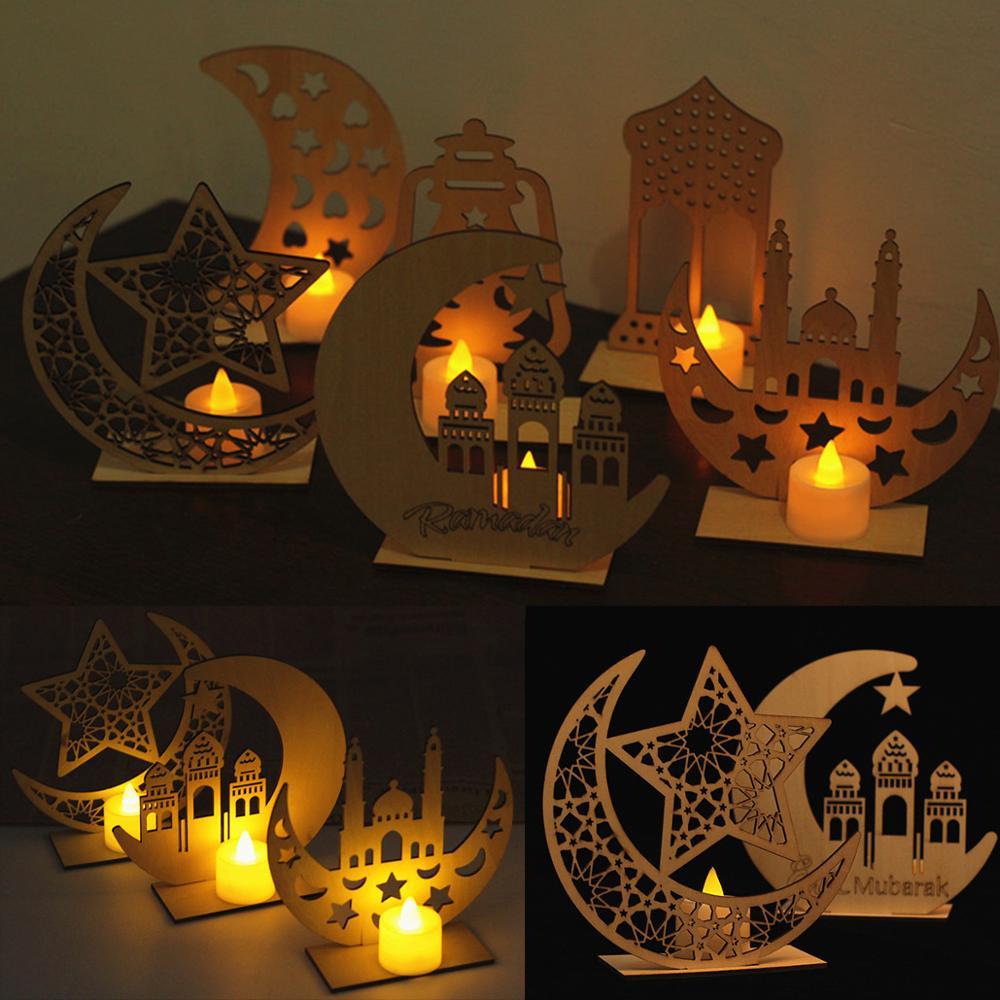 Lámpara de vela EID MUBARAK, decoración de Ramadán, decoración islámica de Ramadán y Eid para comida, regalo de Ramadán