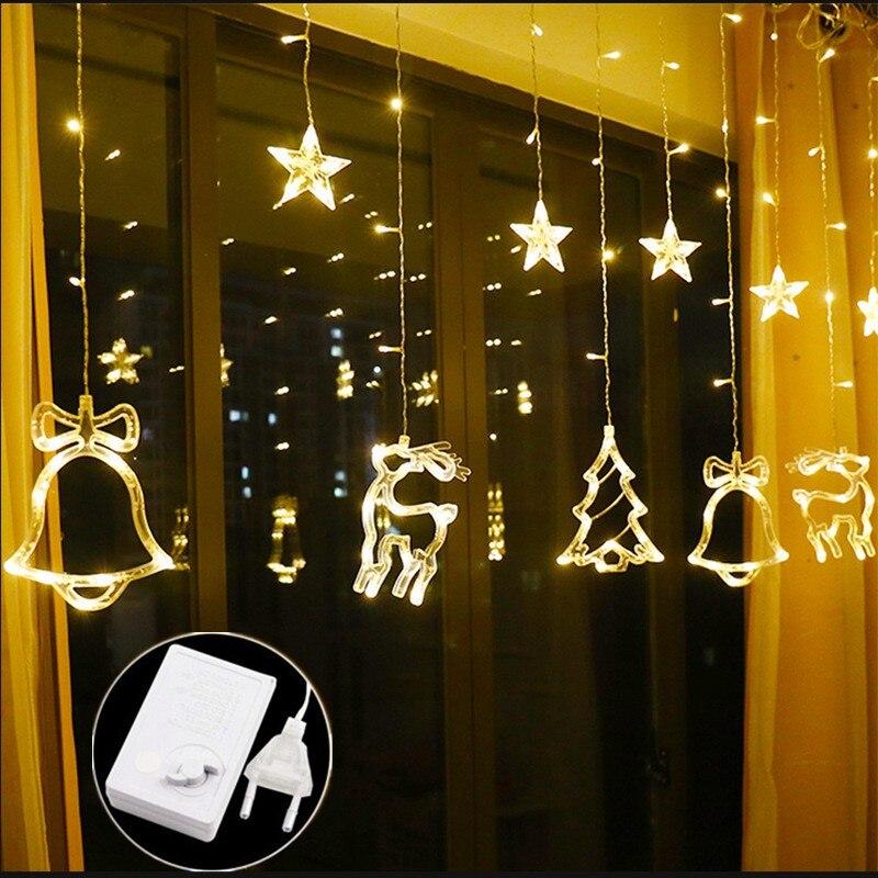 Luzes da corda de natal twinkle ledwindow cortina luz corda festa casamento casa jardim quarto decorações parede interior ao ar livre