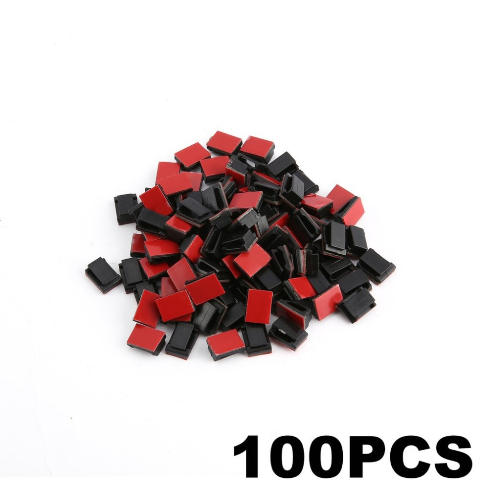 AliExpress - 100 pcs Self Adhesive Cable Clips Wire Holder Clamps Car Data Cable Organizer Wire Management Cord Tie Holder Fixed Clips