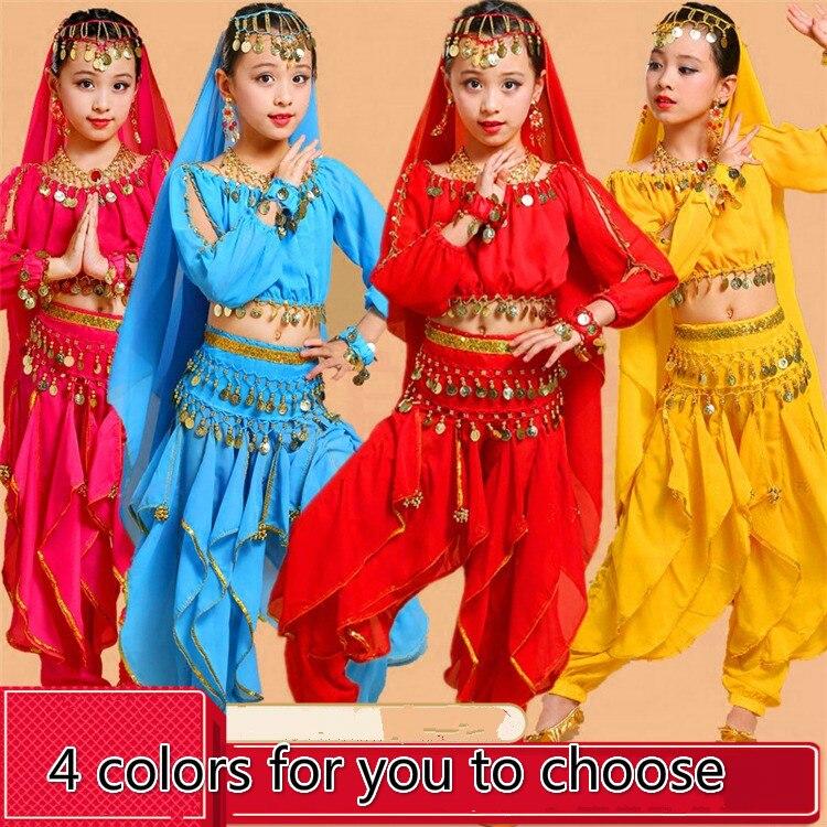 Nuevo vestido de danza India para danza del vientre, trajes de baile de Bollywood para niñas, danza del vientre prendas, conjunto de ropa