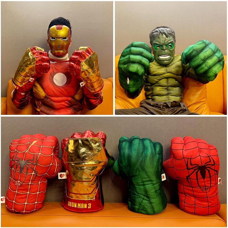 Vengadores Endgame-figuras de superhéroes de 30cm, juguete de Spiderman, guantes de boxeo de Iron Man, guantes de regalo de Hulk