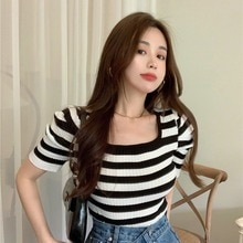 Fashionable Retro Black and White Striped Sweater for Women 2021 New Slim Youthful Short-Sleeved Top