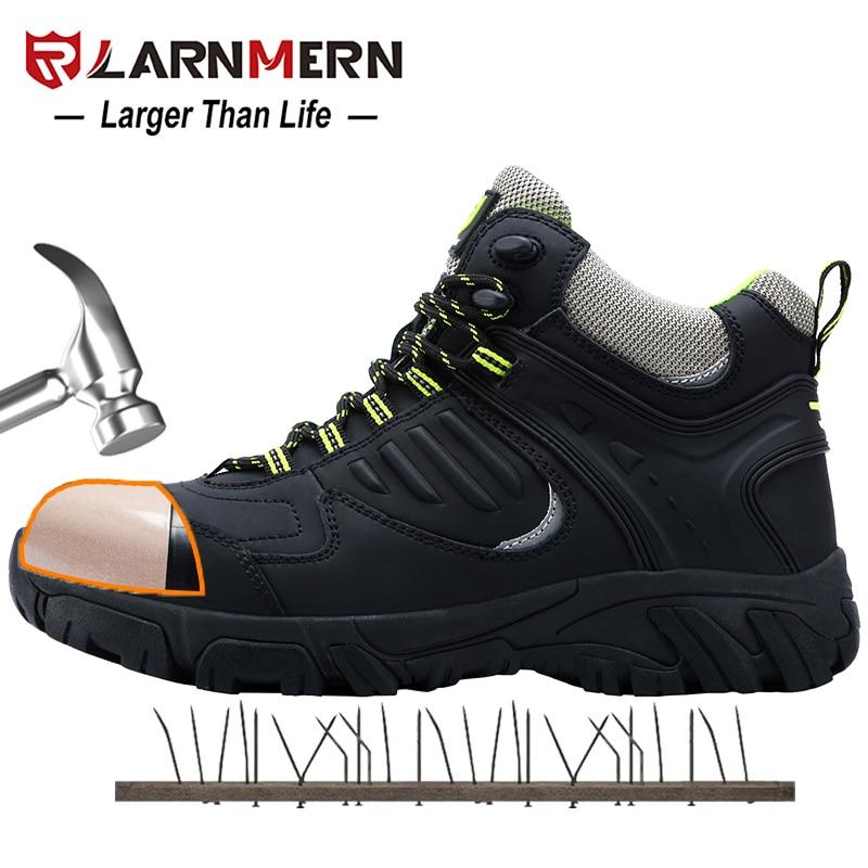 LARNMERN أحذية سلامة العمل للرجال أحذية واقية البناء المضادة للتحطيم المضادة للثقب أحذية واقية عاكسة