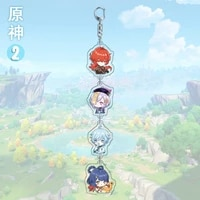 hot game genshin impact keychains venti paimon diluc klee key chain for fashion bag keyring creative car%c2%a0pendant gift for man