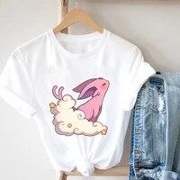 summer womens t shirt fairy grunge clothes gothic beautiful t shirt clouds little white rabbits kawaiis graphic summer t shirt