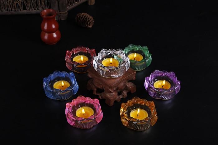 7 color Crystal Lotus Candlestick Fengshui Bowl Candlestick Decor Buddha Statue Candlestick Butter