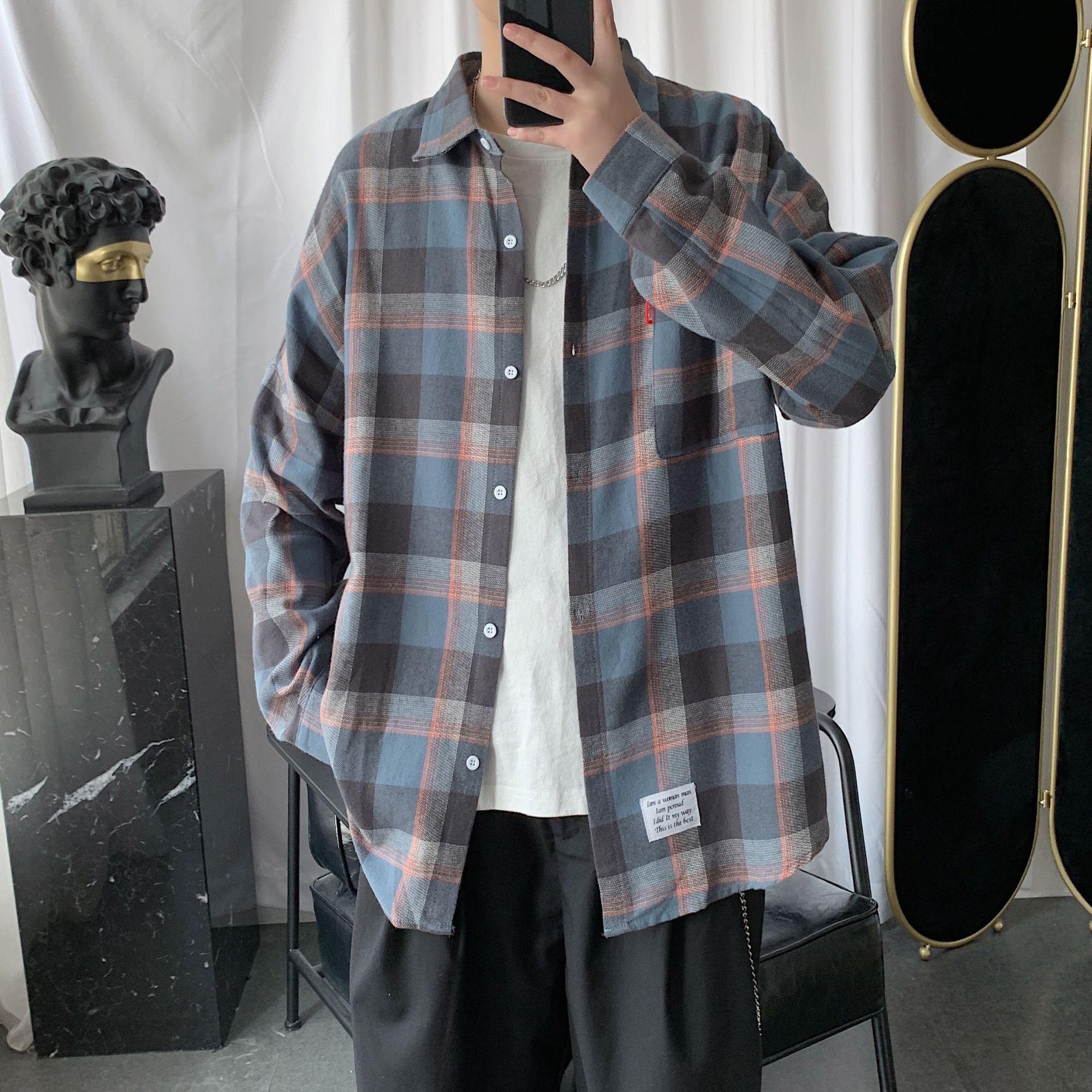Мужская рубашка в клетку, весна-осень, мужская повседневная рубашка с длинными рукавами, мягкая и удобная мужская рубашка большого размера