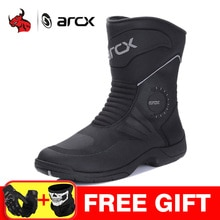 ARCX bottes de Moto hommes bottes de Motocross imperméable Botas Moto véritable cuir de vache Moto bottes Moto chaussures noir