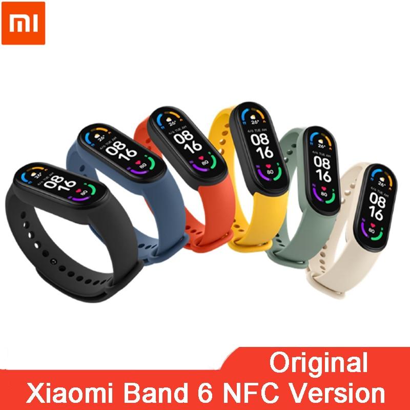 Original Xiaomi Mi Band 6 NFC Smart Bracelet AMOLED Screen Miband 6 Smartband Fitness Traker Bluetooth Heart Rate Wristband