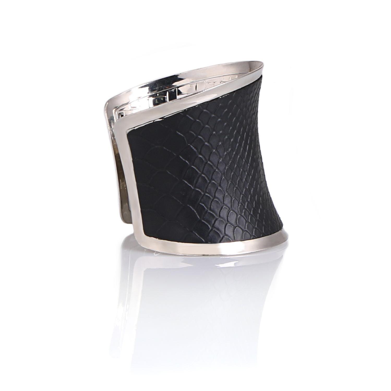 Komi comprar um obter um presente livre couro preto hyperbole manguito de aço inoxidável ampla personalidade pulseira homem mulher jóias MI-033