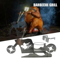 portable chicken stand beer american motorcycle bbq stainless steel rack with glasses indoor outdoor use pw