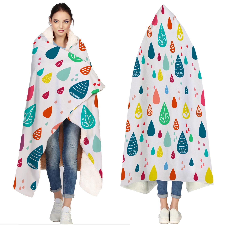 Coloridas gotas de lluvia pintadas a mano son una manta encantadora Para sofá cama Animal Cobertor Para Inverno
