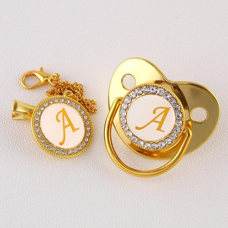 Роскошная-золотая-26-инициальная-буква-блестящая-цепочка-для-соски-пустышки-зажим-для-новорожденного-младенца-детская-Силиконовая-пустыш