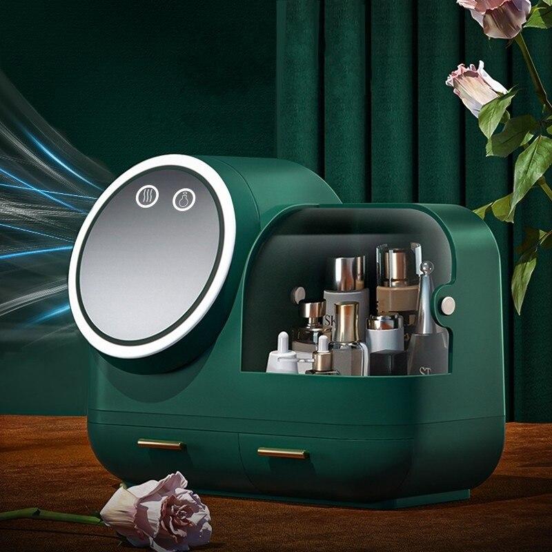 2021 New Cosmetic Storage Box LED light Internal Fan Makeup Box Household Drawer Type Skin Care Product Storage Organizer Box