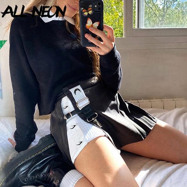 Y2K women's mini skirt, open print, high waist, black, punk style,  woman skirts  women clothes 2