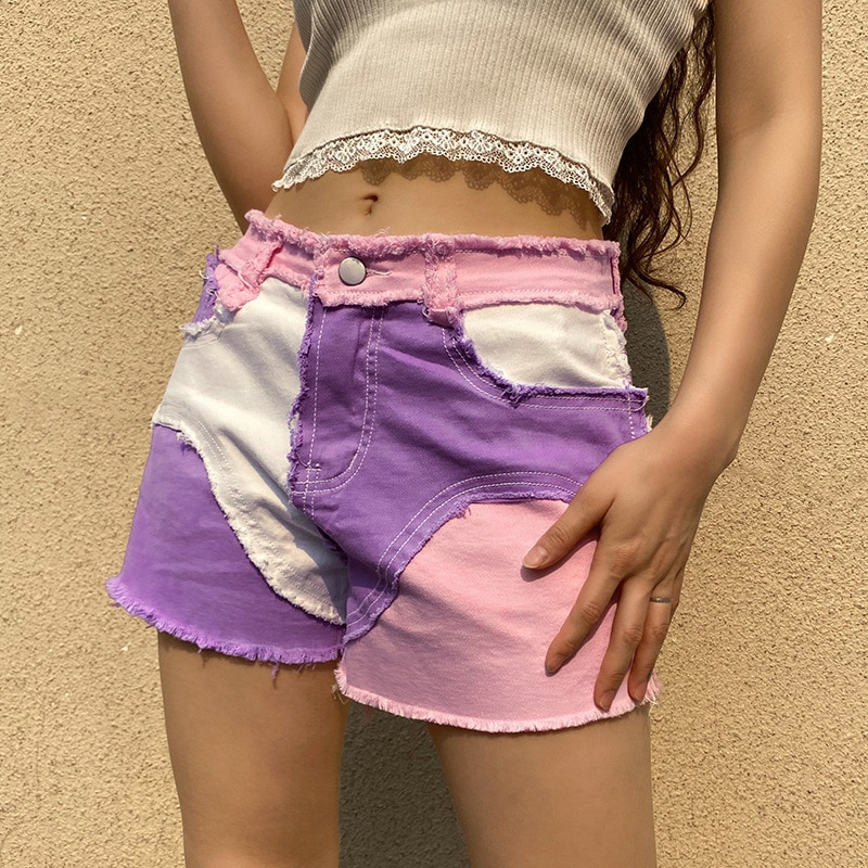Plush edge stitching color contrast 2021 summer new women's pants trend personalized short casual pa