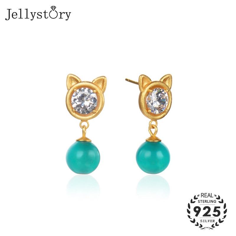 Pendientes colgantes de plata fina Jellystory 925 con circonita Esmeralda, pendientes de estilo coreano, joyería de moda para mujer, fiesta de boda