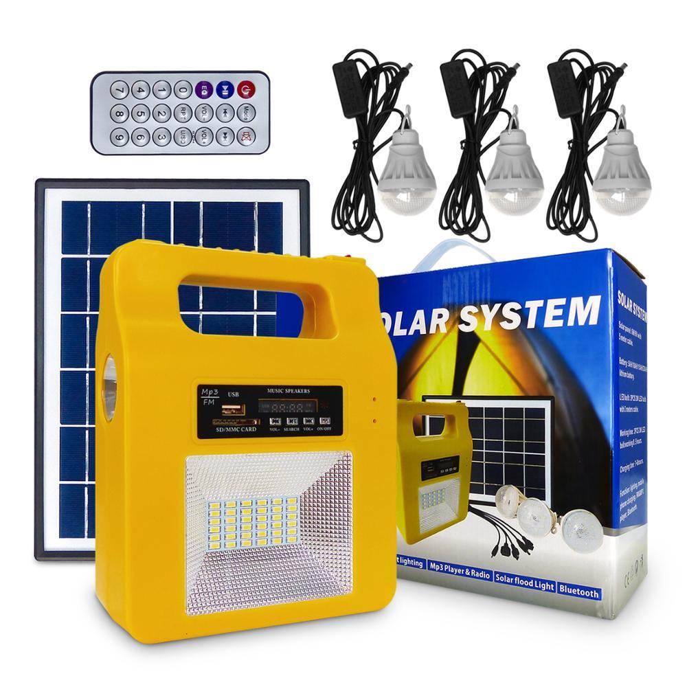 SDF مواد كهربائي محمول عدة نظام الإضاءة الشمسية 5AH الليثيوم مع 3 المصابيح ، منفذ إخراج USB 5 فولت للطاقة الاحتياطية في حالات الطوارئ