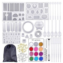 12 cores conjunto de silicone molde mistura stok conta-gotas sluiting diy sieraden maken accessoires gereedschap mallen combinatie ambachten