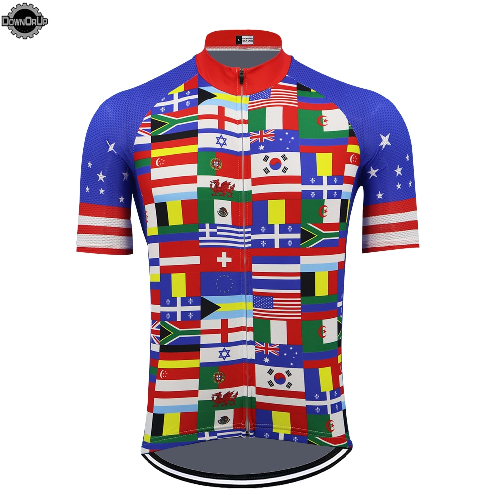 Jersey de ciclismo con bandera nacional para hombre, ropa de manga corta...