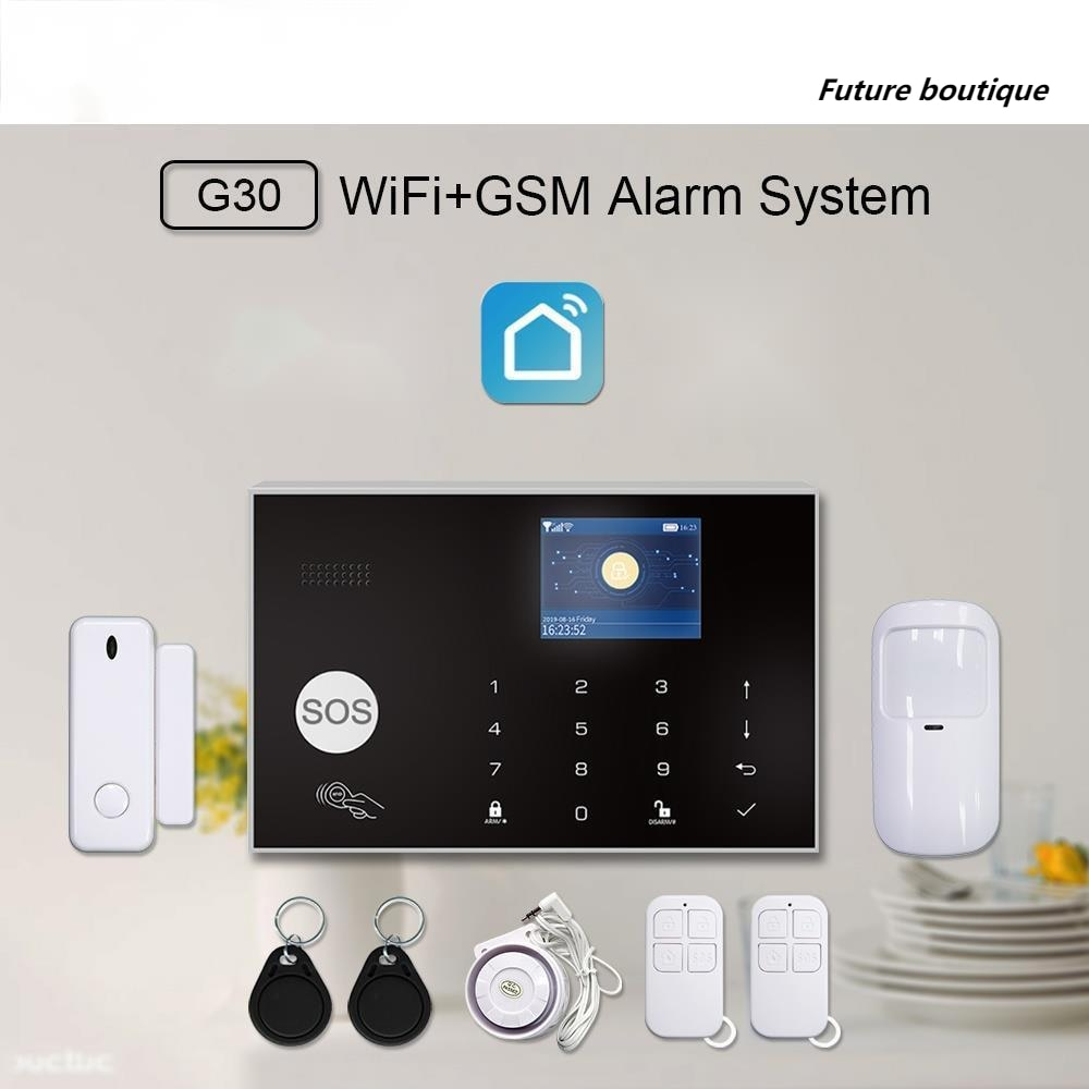 Smart WiFi 2G GSM Home Security Alarm System 433MHz Wireless Burglar Alarm Kit Android Ios System APP Remote Control