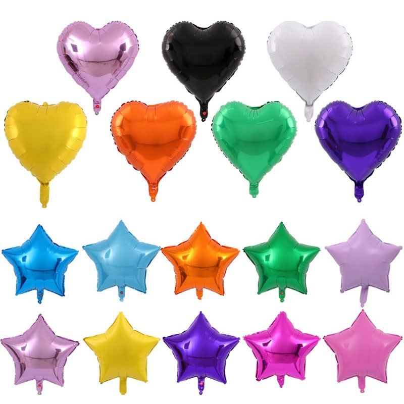 Valentine's day decoration five-pointed star aluminum film balloon wedding decoration heart-shaped birthday party balloon