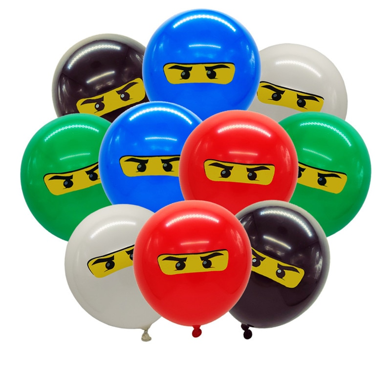 10-20pcs Ninjago Balloons for Boys Kids Birthday Party Decoration 12 inch Latex Balloon Party Supplies hat