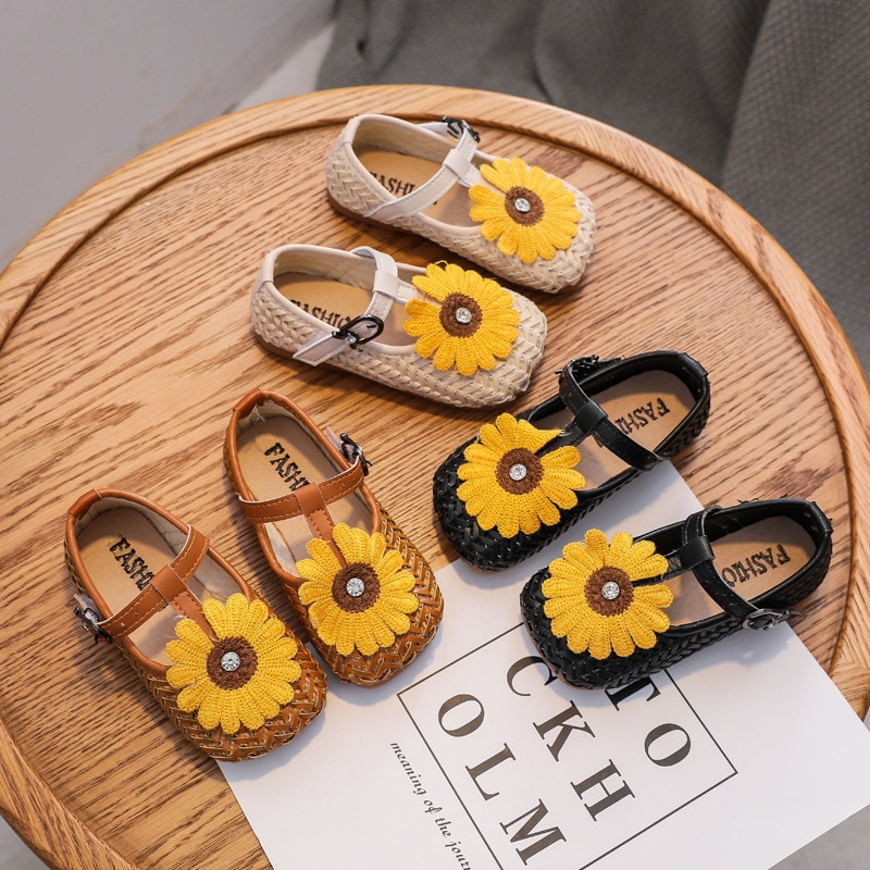Fashion Baby Girls Kids Children Flats Shoes Anti-Slippery Hook & Loop With Flowers For Kids Flats Shoes  Autumn 2021 Size 21-30