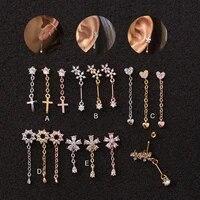 long chains cross heart flower cartilage helix tragus piercing ear stud piercing jewellery