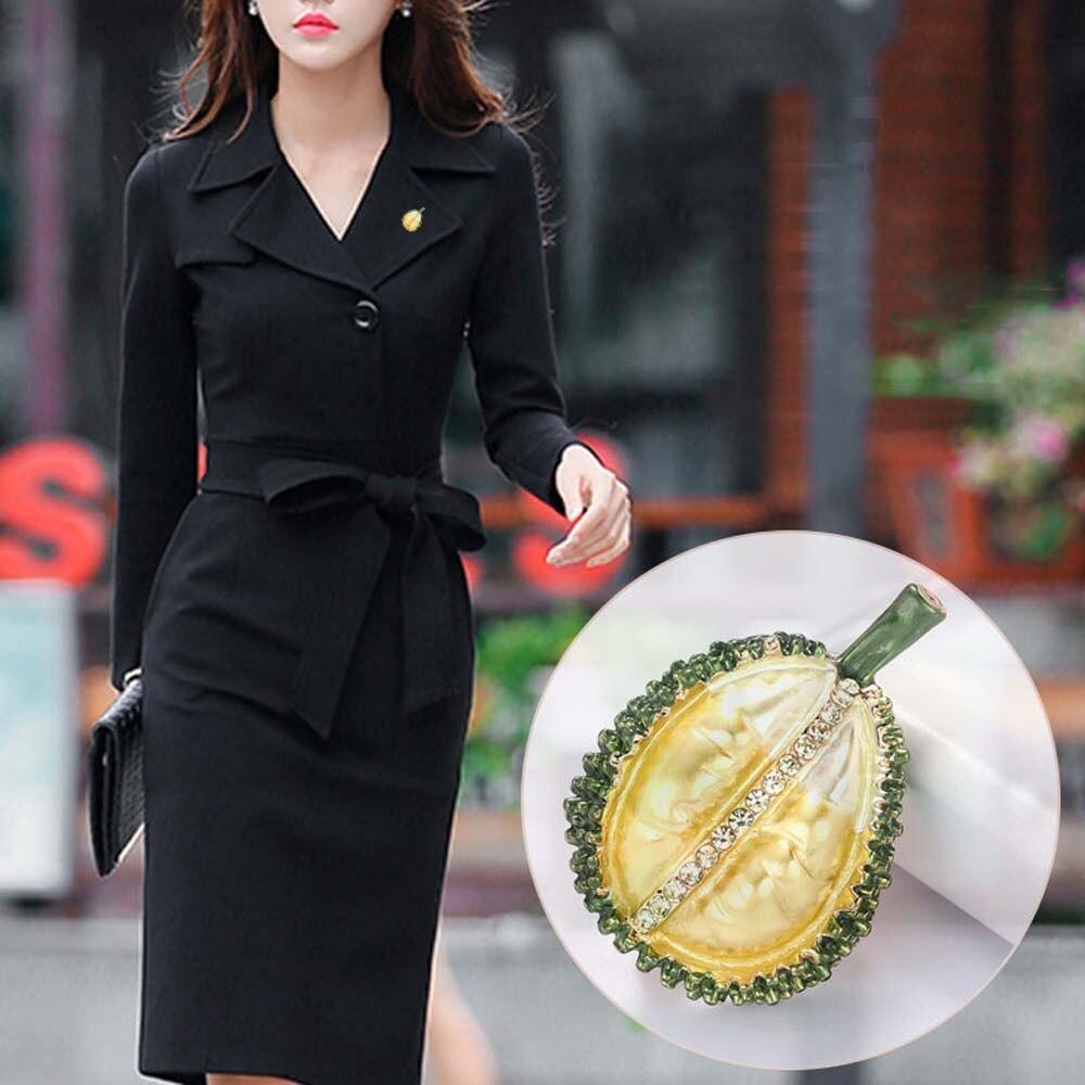 Broches Pin planta Rhinestone Durian aleación frutas Casual banquete broche Pins regalos de Año Nuevo accesorios de joyería para mujer chica