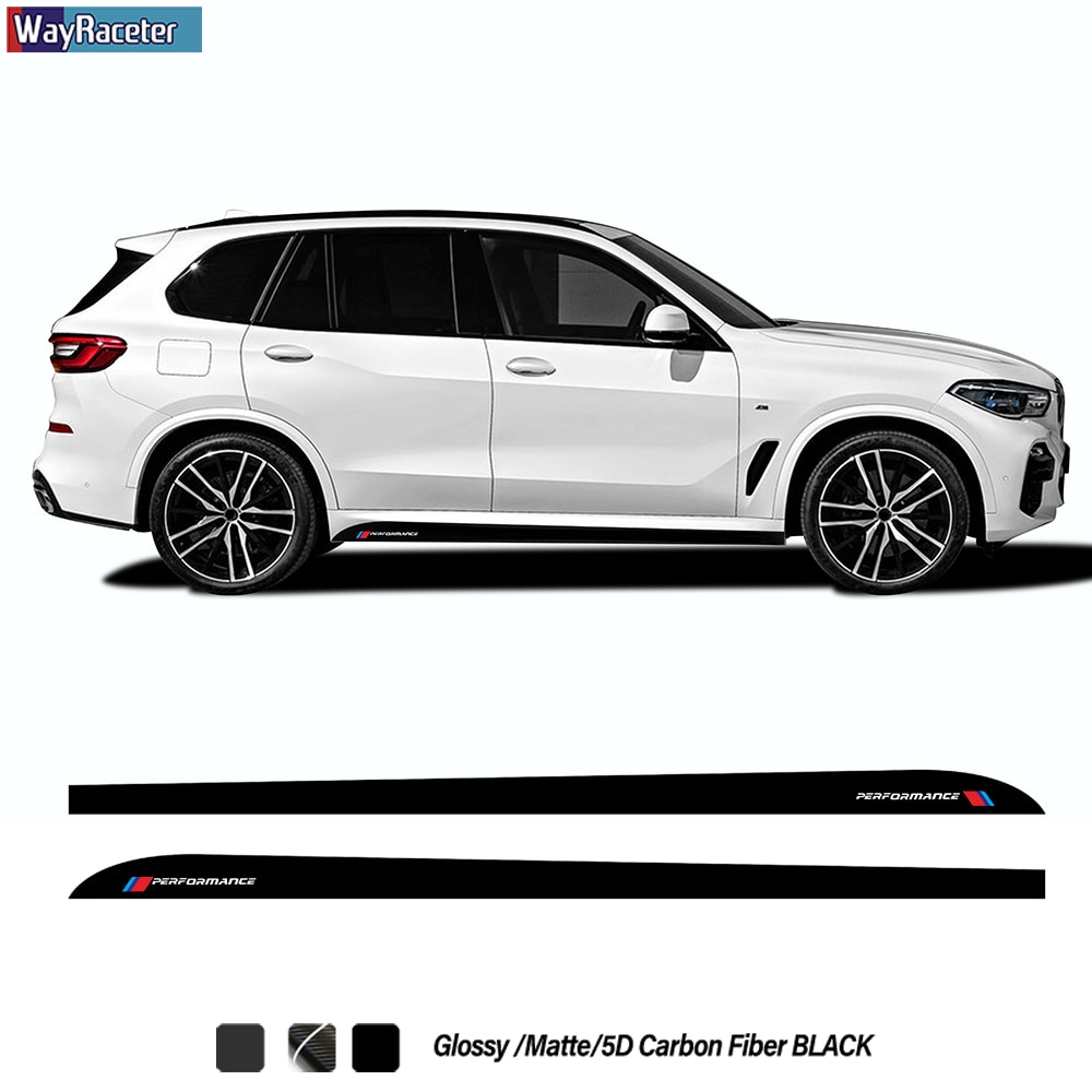 2 Pcs M Performance Styling Car Door Side Stripes Skirt Sticker 5D Carbon Fiber Vinyl Decal For BMW X5 F15 M F85 G05 Accessories etie car styling sports mind produced by m performance power sticker