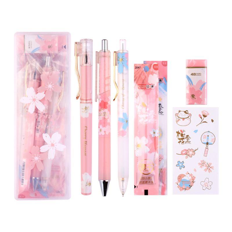 1 Set Cherry Blossoms Ice Gel Pen Eraser Sticker Black Ink 0.5mm Signature Pens R2JF
