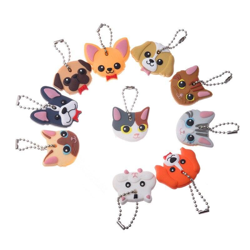 1 шт. Силиконовое кольцо для ключей, крышка на голову, чехол для ключей, чехол для ключей, кошачий хомяк, Ши-тцу, мопс, собака, животные, форма, брелки, ювелирный подарок