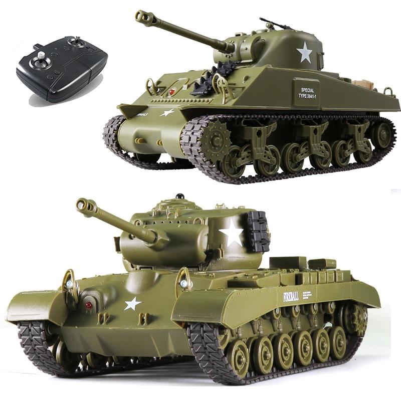 1/30 2,4G RC Tank Sherman M4A3 M26 Pershing Battle Military Tank juguetes para niños, tanque interactivo de control remoto para padres e hijos