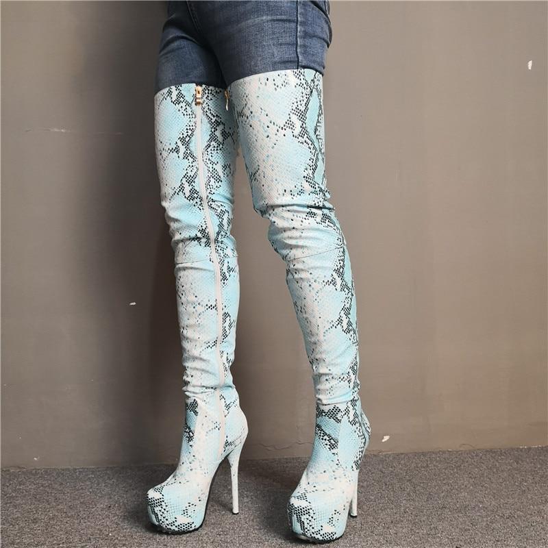 Nueva plataforma de moda azul de piel de serpiente de las mujeres Botas de Mujer Invierno 2020 punta sobre-el-hasta la rodilla Botas de señoras Sexy zapato de fiesta