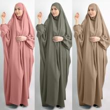 Eid Hooded Muslim Women Hijab Dress Prayer Garment Jilbab Abaya Long Khimar Full Cover Ramadan Gown