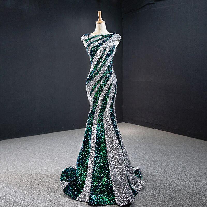 Tailor shop vestido de lentejuelas de noche cola de pescado negro blanco patrón de cebra lentejuela sirena vestido de novia vestido de fiesta vestido brillante
