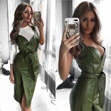 Femmes ceintures en cuir Pu Club Sexy robe dos croix Spaghetti sangle mode dame élégante robe genou longueur 2019 Vintage col en v