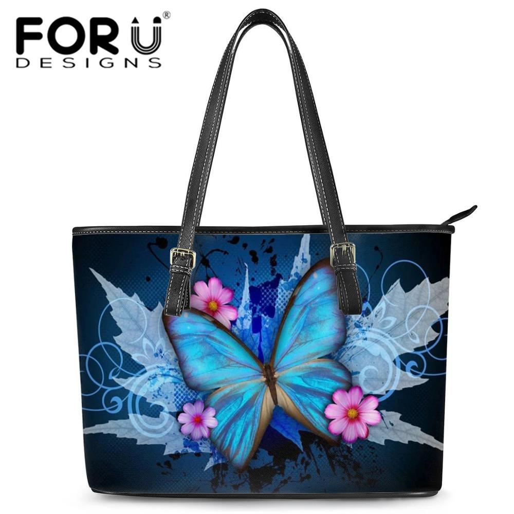 FORUDESIGNS Luruxy Women Handbags Brand Designer Beautiful Butterdfly Print Tote Shoulder Bags Handb