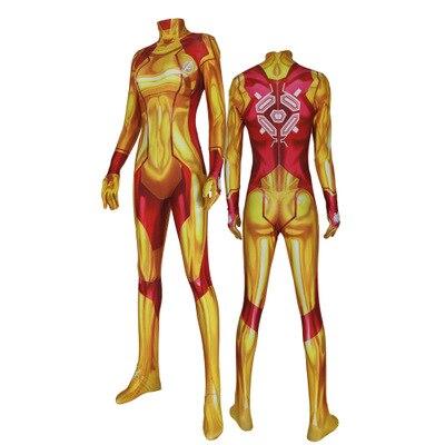 Mais novo samus aran cosplay traje menina catsuit 3d impressão elastano amarelo dourado laranja vermelho samus zentai terno