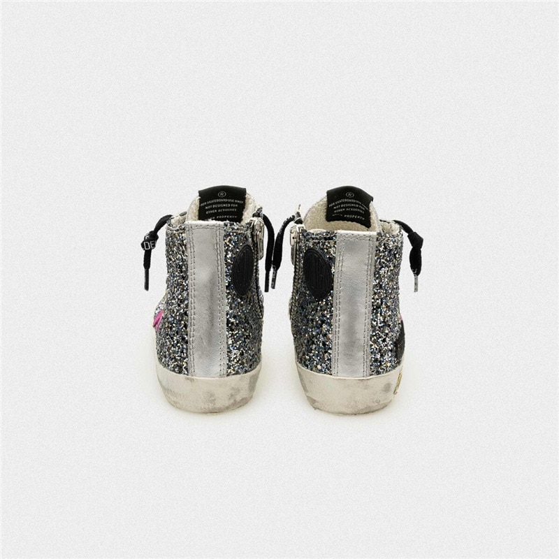 Children's Spring and Summer Sequined Old Small Dirty Sneakers for Boys and Girls Casual Silver Patent Leather Kids Shoes  CS197 enlarge