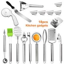 Лучший набор кухонных инструментов 18 шт, бытовые кухонные принадлежности, гаджеты из нержавеющей стали, кухонные 889