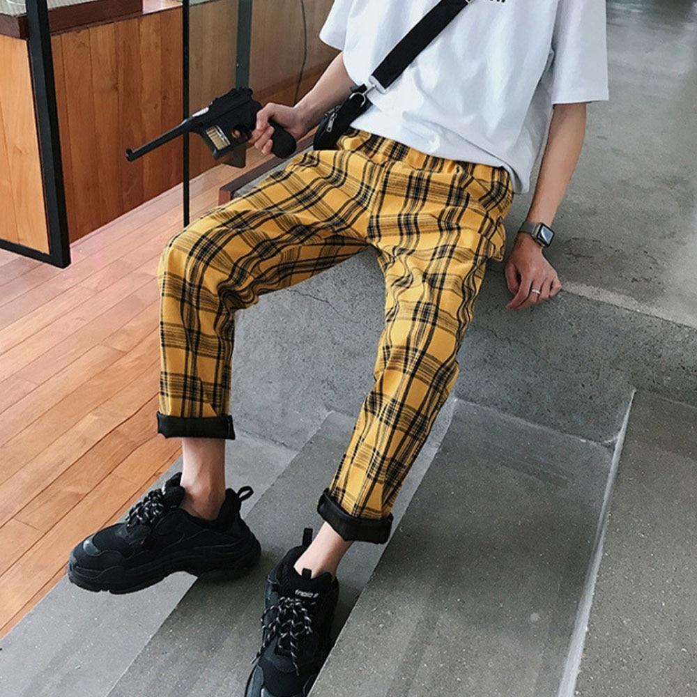 2021 уличная одежда желтые клетчатые брюки мужские повседневные Джоггеры мужские прямые шаровары мужские брюки в стиле хип-хоп
