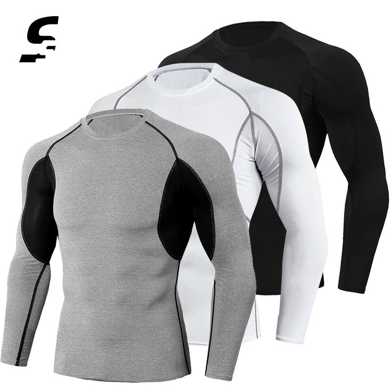 Men's Running Shirt Compression Gym Fitness T-Shirt Quick Dry Long Sleeve Bodybuilding Compression Top T Shirt Men Fitness Tight
