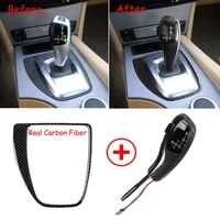 carbon fiber led gear shift knob cover for bmw 5 series e60 pre facelift 2003 07 fit left hand drive