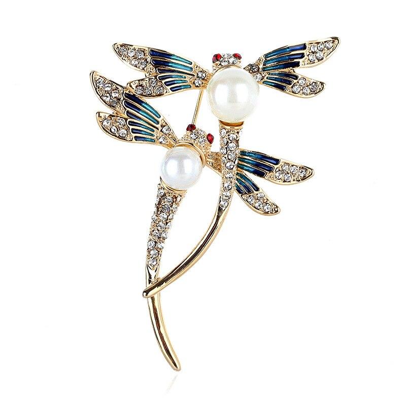 Nuevo par de broches de libélula moda diamante retro esmalte ramillete abrigo con joyas accesorio occidental broches de animales Pin de Collar