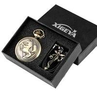 retro pocket watch set necklace brass quartz clock arabic numerals dial leather fine pendant set japan anime gift for friend
