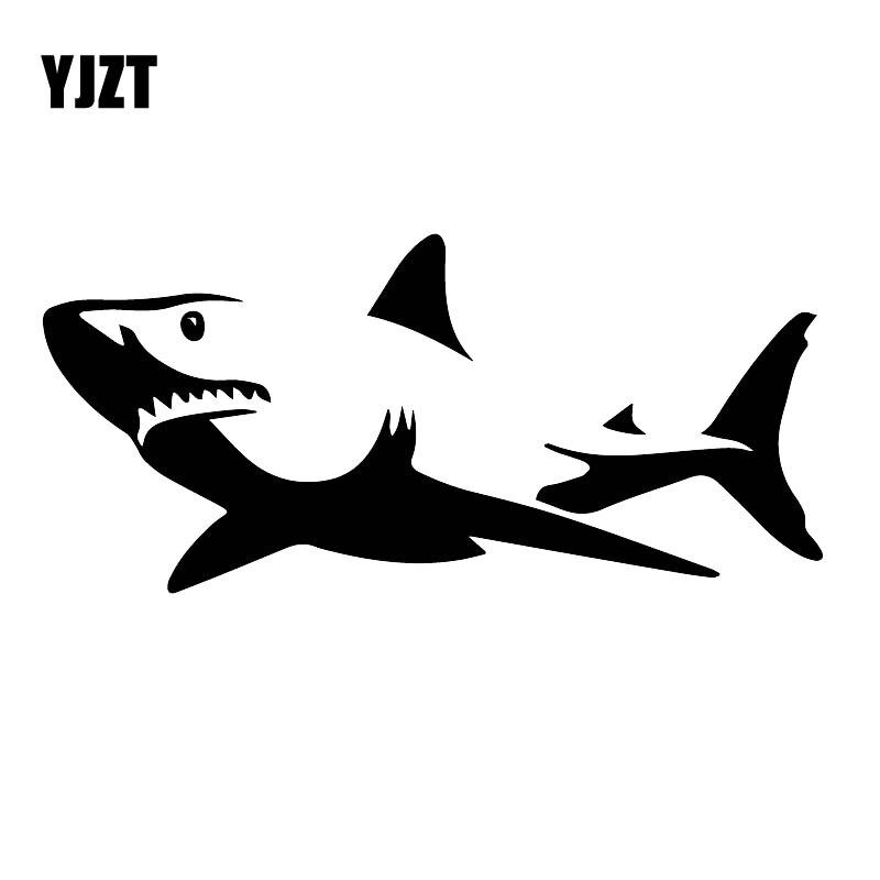 YJZT 8CM * 17,1 CM mar tiburón decoración del hogar vinilo calcomanía coche ventana lateral pegatina negro/plata C30-0066