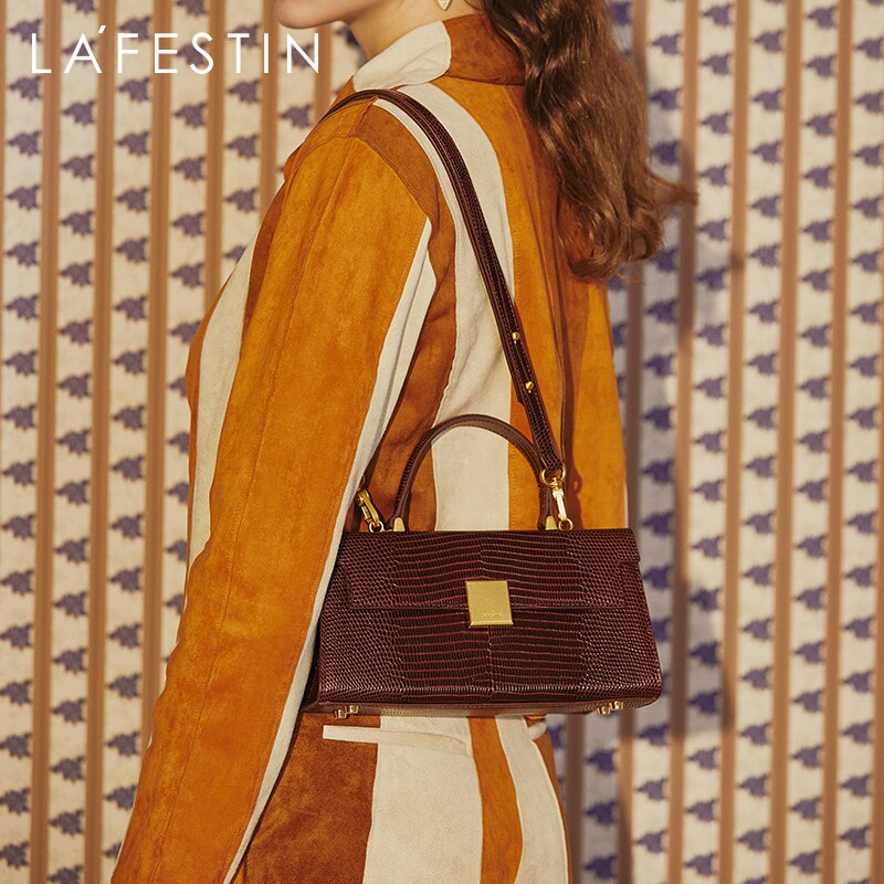 LA FESTIN Retro Luxury Handbag 2021 New Fashion Brand Classic One-shoulder Bag Lizard Pattern Leathe